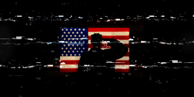 Photo illustration: A black glitchy screen showing a silhouette of a person saluting the American flag.
