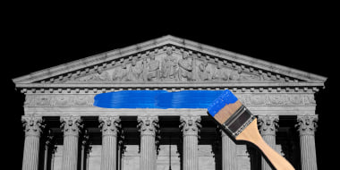 Photo illustration: A paint brush painting a blue swash over the US Supreme Court building.