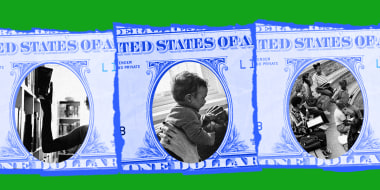 Photo illustration:A cut out portions of three pieces of dollar bills reveal a hand pulling out a library book, two hands holidng a child up and students sitting together.