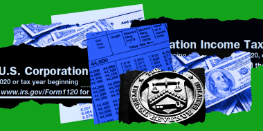 Photo illustration: Pieces of paper reveal images of dollar bills, Income Tax filing papers and the seal of the Internal Revenue Service.