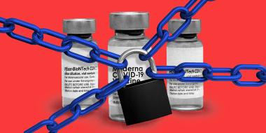 Photo illustration: A chain and padlock over three vaccine vials of Pfizer and Moderna.