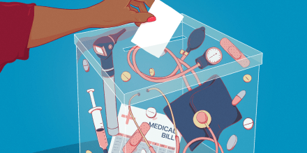 Illustration of a voter casting a ballot in a box full of medical supplies.