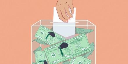 Illustration of hand casting ballot inside of ballot box full of 100 dollar bills. Benjamin Franklin, on the bills, is wearing a graduation cap.
