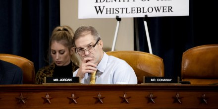 Image: Rep. Jim Jordan, R-Ohio, listens during to Ambassador Gordon Sondland's testimony at an impeachment inquiry hearing on Nov. 20, 2019.