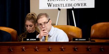 Image: Rep. Jim Jordan, R-Ohio, listens during to Ambassador Gordon Sondland's testimony at an impeachment inquiry hearing on Nov. 20, 2019.