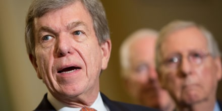 Image: Flanked by fellow Republicans, Sen. Roy Blunt (R-MO) speaks to Capitol Hill reporters following the Republicans' weekly policy luncheon in Washington