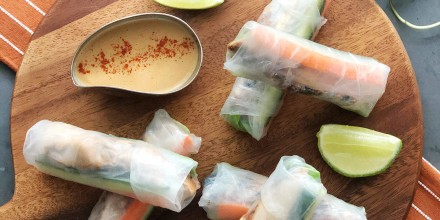 Chicken Spring Rolls with Peanut Sauce