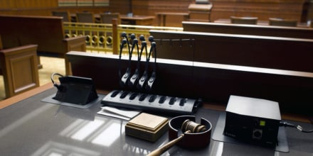 A gavel sits on a desk inside the Court of Appeals at the new Ralph L. Carr Colorado Judicial Center, which celebrated its official opening on Monday Jan. 14, 2013, in Denver.