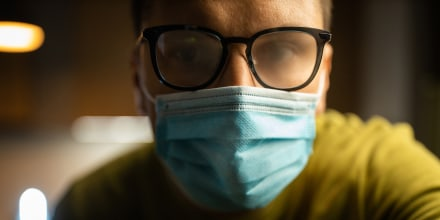 Young men isolated himself wearing a face mask in quarantine
