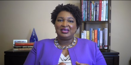 "Image: Stacey Abrams appears on ""Meet the Press\"" on April 26, 2020."
