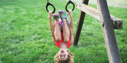 Girl Hanging Upsidedown
