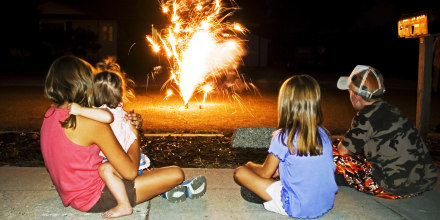Kids Watching Fireworks at Home