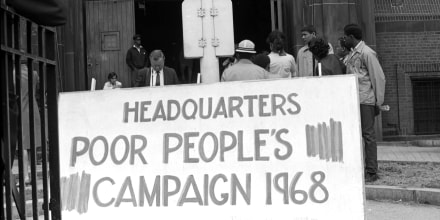 Image: A rally outside of the 369th Regiment Armory in Harlem, N.Y., on May 11, 1968.