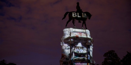George Floyd's image is projected on the Robert E. Lee Monument on June 18, 2020 in Richmond, Va.