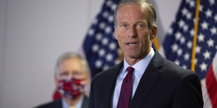Image: Sen. John Thune (R-SD) speaks during a press conference following the weekly Senate Republican policy luncheon in the Hart Senate Office Building on June 30, 2020.