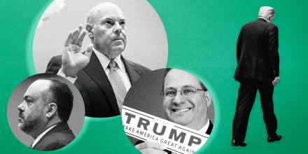Image: Postmaster General Louis DeJoy, Henry Kerner, and Trey Trainor in bubbles as President Donald Trump walks away on a green background.