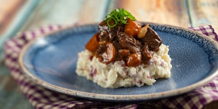 Beef Bourguignon with Crushed Red-Skinned Potatoes