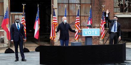 Image: U.S. President-elect Joe Biden campaigns on behalf of Democratic U.S. senate candidates Ossoff and Warnock in Atlanta, Georgia