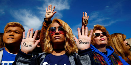 """Image: Attendees are seen before students and gun control advocates hold the \""""March for Our Lives\"""" event demanding gun control after recent school shootings at a rally in Washington"""