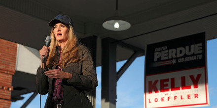 Republican Sen. Kelly Loeffler speaks to supporters during a rally in Cartersville, Ga., on Jan. 3, 2020.