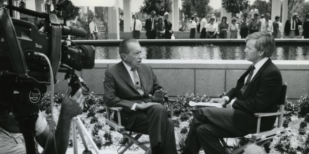 President Richard Nixon is interviewed by NBC's Tom Brokaw