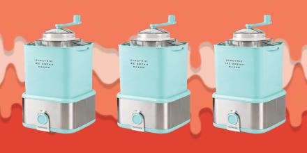 Illustration of Ice Cream melting and a NWOB New Nostalgia Electric Ice Cream Maker 2QT
