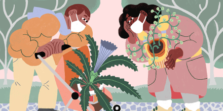Image: Illustration of two people in masks cooing over a potted plant in a stroller, while another person carries a potted plant in a baby carrier.