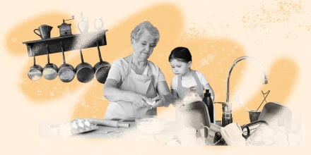 Illustration of woman and kid in a messy kitchen