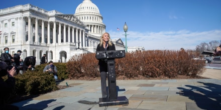 Image: U.S. Representative Marjorie Taylor Greene holds news conference on Capitol Hill in Washington