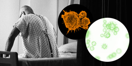 Image: Illustration shows an older man sitting on a hospital bed, while bubbles showing orange cancer cells and green Covid spores float nearby.