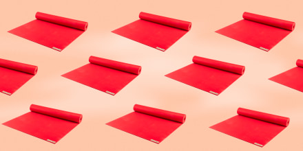 Image: Illustration shows repeating red Jade Yoga Harmony Mats.