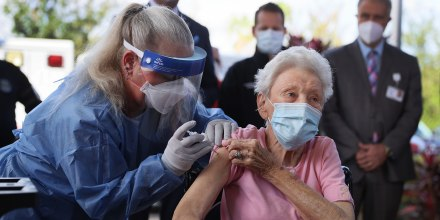 Image: Nursing home resident receives COVID-19 vaccine in Florida