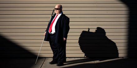 Robert Jaquiss, 67, of Missoula, Mont., has been blind since birth.