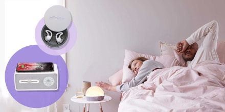 Illustration of a couple in bed waking up to their Hatch Sound Machine and images of the Bose Sleepbuds II and Sound Soother With Wireless Charger
