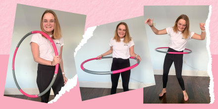 Illustration of 3 images showing Emma Stessman using a pink and grey weighted hula hoop to workout