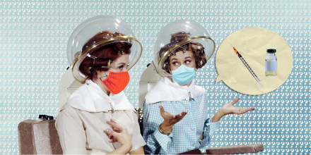 Illustration of two women talking with a vaccine inside a speech bubble.