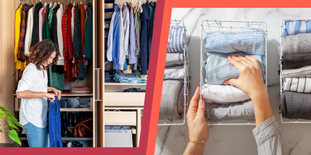 Illustration of a woman organizing her beautiful closet and second image of hands folding and organizing shirts into multiple white baskets