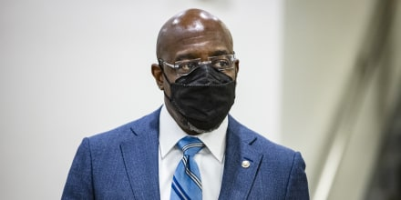 Senator Raphael Warnock walks through the Senate subway during a procedural vote in the Senate on Capitol Hill in Washington, D.C., on Tuesday, March 16, 2021.