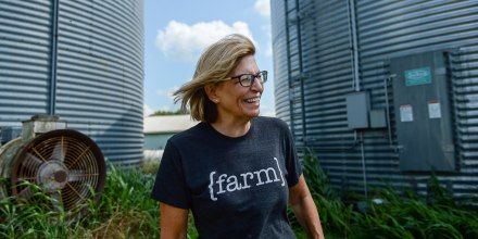 Rita Hart speaks with a reporter at her farm in Wheatland, Iowa, in 2019.