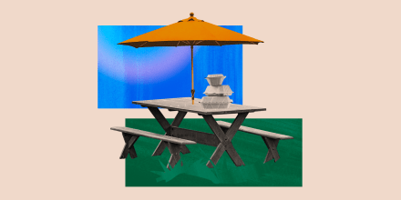 Image: Illustration of an outdoor dining setup with takeout containers on a picnic table and umbrella