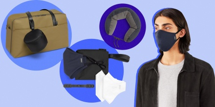 Illustration of a Man wearing an Away mask in navy blue, a Neck Pillow, a bag with a closed neck pillow attached, and a kit from Away with travel essentials