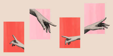Photo illustration of hands reaching out to each other from their windows.