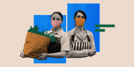 Photo illustration of two essential workers wearing masks and one of them is holding a bag of groceries.