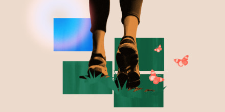 Photo illustration of walking shoes clad feet walking over grass with butterflies flying by.
