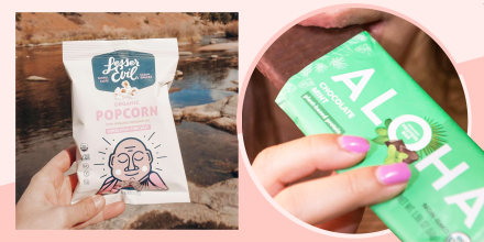 Illustration of a hand holding a bag of organic Popcorn Himalayan Pink Salt and image of someone watching an Aloha bar