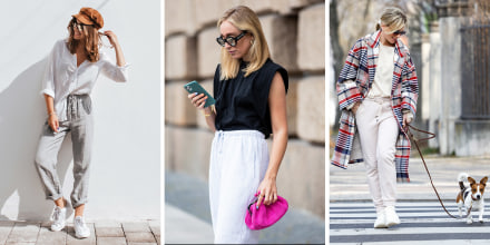 Three images of Women wearing different styles of jogger pants with cute tops