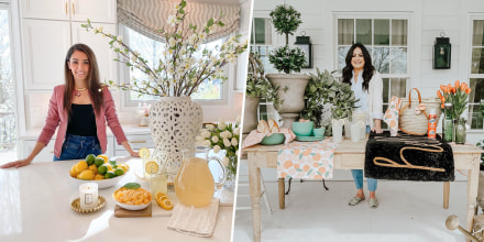 Split image of Liz Marie Galvan and Farah Merhi showing how you can decorate your home for spring