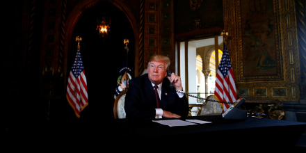 Image: President Donald Trump speaks via video teleconference with troops from Mar-a-Lago estate in Palm Beach, Florida