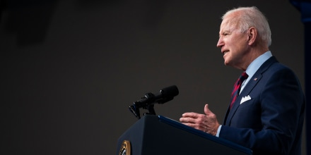 President Joe Biden speaks in the South Court Auditorium on the White House campus on April 7, 2021.
