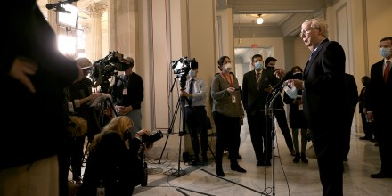 Image: Senate Minority Leader Mitch McConnell talks to reporters following the weekly Senate Republican caucus luncheon in the Russell Senate Office Building on Capitol Hill on March 16, 2021.